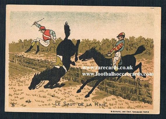 1910s horse race hunt jumping Beriot Lille French trade card